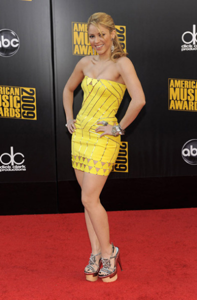 "Shakira in a Versace Spring 2010 dress at the American Music Awards 2009. Love this sunny dress. However I don;t think it looks grand enough for a red carpet event. Not complaining though, I'm glad to see the dress make it to the red carpet what with bad press surrounding Versace as of late. Did you remember who wore it on the runway? Its my fave model Sasha ""my cheeks are naturally sunken"" Pivovarova!"