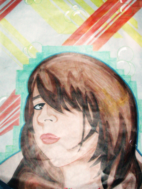 Self portrait. Gridded Vellum, Paint Pen, Copic Markers. 2008