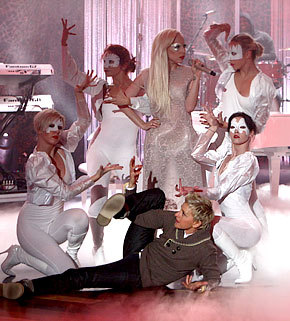 Ellen is freaking hilarious that she is down in front of Lady Gaga trying to get in on the dance photo via fabulously-freckled: