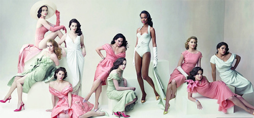 """Fresh Faces"" Vanity Fair, March 2008 photographer: Annie Leibovitz Emily Blunt, Amy Adams, Jessica Biel, Anne Hathaway, Alice Braga, Ellen Page, Zoë Saldana, Elizabeth Banks, Ginnifer Goodwin, and America Ferrera. // love-stoned"