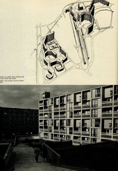 JACK LYNN + IVOR SMITH PARK HILL FLATS, SHEFFIELD UK 1957-61 Smithsons's Golden Lane meets Corbu's Unité.Beautiful brutalism and a clash of scales - bulk versus façades. >more