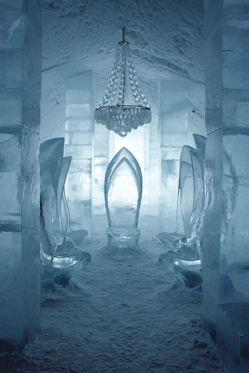 The Ice Hotel. It's a hotel…made completely out of ice. The roof, the walls, the floor, the tables, the chairs, the beds, the bookshelves…everything. How amazing, (and ridiculously cold!) it would be to stay there.  -LX
