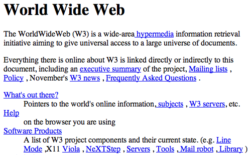 The first web page (1991)