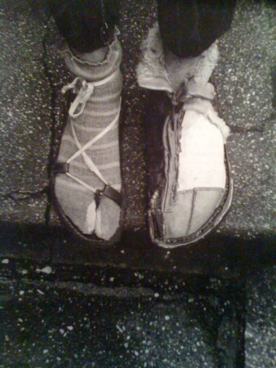 Hundertwasser with self made summer and winter shoes