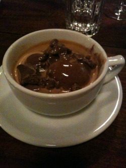 Affogato (gelato with 2 shots of espresso poured over it) @indianroadcafe