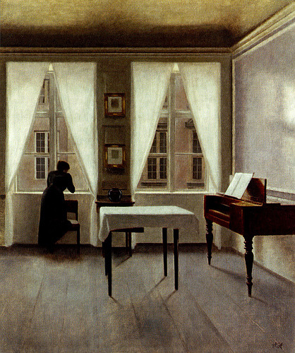 Vilhelm Hammershøi, The Poetry of Silence. From arsvitaest, crochet via Woolgathersome)