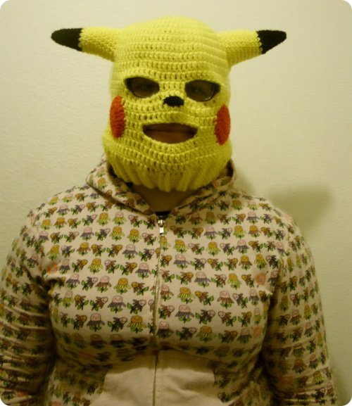 Pikachu ski mask by Sugarcoatidli3z on DeviantArt [Via Hawty McBloggy] (via Straight Outta' Your Nightmares - Pikachu Ski Mask