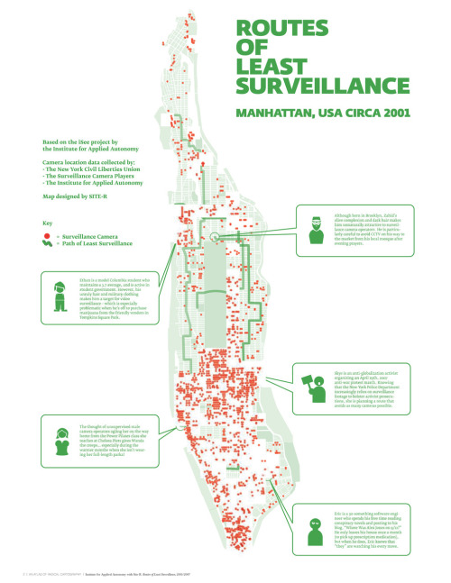 roomthily:  zuloark:  dpr-barcelona:  Routes of Least Surveillance | Manhattan USA Circa 2001 | via @RadicalMap Map by SITE-R based on iSee project Soon in Spanish!
