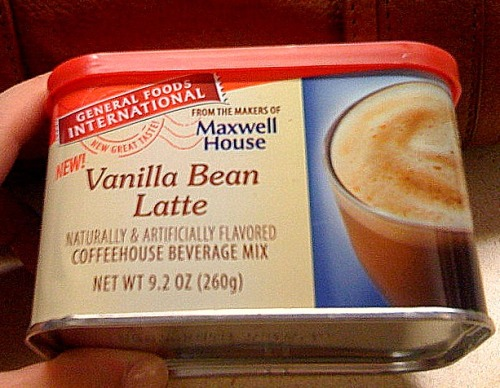 Why am I just now discovering this delicious powdered Vanilla Bean Latte mix? Drinking it for the first time this morning, the taste reminds me of sipping coffee under a heater  on the outdoor terrace of some charming little corner brasserie in Paris with a great book or magazine or just people-watching. What a way start my day…