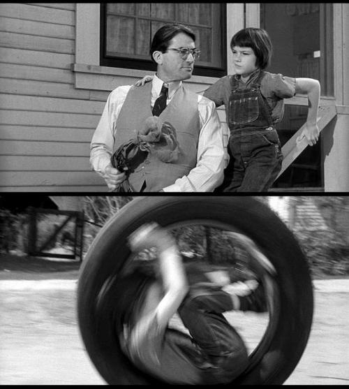 "Mary Badham (with Gregory Peck) as Scout in To Kill a Mockingbird (1962, dir. Robert Mulligan) ""Aunt Alexandra was fanatical on the subject of my attire. I could not possibly hope to be a lady if I wore breeches; when I said I could do nothing in a dress, she said I wasn't supposed to be doing things that required pants. Aunt Alexandra's vision of my deportment involved playing with small stoves, tea set, and wearing the Add-A-Pearl necklace she gave me when I was born; furthermore, I should be a ray of sunshine in my father's lonely life"". -Harper Lee, To Kill a Mockingbird"