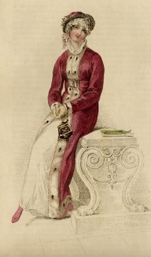 historicalfashion:  This fashion plate from January 1813 features a morning walking dress and pelisse trimmed with luxurious ermine.
