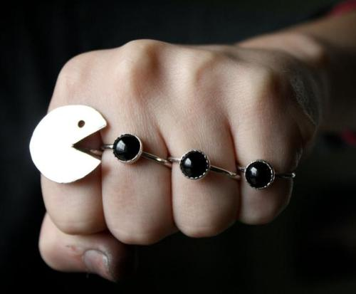 loveallthis:  Come on - Pac-Man rings?  These are awesome.