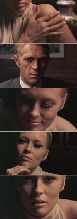 "Faye Dunaway & Steve McQueen explore the erotic possibilities of chess in The Thomas Crown Affair (1968, dir. Norman Jewison) (via) The movie's major romantic scene takes place over a chessboard. ""Do you play?"" Crown asks. ""Try me,"" she answers. After those two sentences, the script had a three-word description about what should follow: ""Chess with sex."" No dialogue, just a man and a woman, a chessboard, chess pieces, and a charge of sexual tension. Steve & Faye radiate spontaneity in the scene, but in fact they were responding to my directions: ""Faye, you're playing chess, but another game is going on…Without thinking, your right hand goes up your left arm & lightly caresses your throat…Steve, let your eyes follow Faye's hand…Faye, look up and catch Steve watching. You're embarrassed. You smile & look down…Faye, stroke the bishop…Steve, what's she doing? Masturbating the bishop? My God, she's throwing you off your game…"" And so on for six minutes of screen time. ""Check,"" Vicki says. The silence is broken. Crown stands up, studies the board, confirms he has lost. He roughly pulls Vicki to her feet. ""Let's play something else,"" he says. They kiss. Not a brief, tender kiss. I was going for the all-time longest kiss in screen history. Not a hint of bare skin, but the kiss was far sexier than a shot of two nudes. It lasted for 80 seconds of screen time. If you can believe it, that kiss earned the movie a Mature Audience rating, and most newspapers would not reproduce our open-mouth kiss ad for the film. -excerpted from This Terrible Business Has Been Good to Me by Norman Jewison. The chess scene can be seen here."