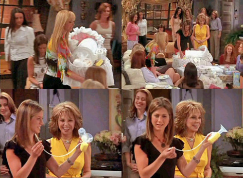 voodoomamajuju:  Phoebe: This is from your friends at work. Rachel: Oooh my gosh. Oh wow! Oh, I know what this is. Wait a minute, that can't be right. Is that beer bong for a baby? Oh Rachel.  8x20 TOW The Baby Shower