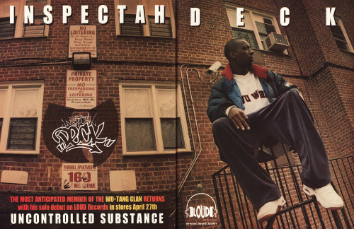babylonfalling:  Two page ad from Loud for Inspectah Deck's Uncontrolled Substance.  wow.. this picture brought back memories. my building from way back in the day.