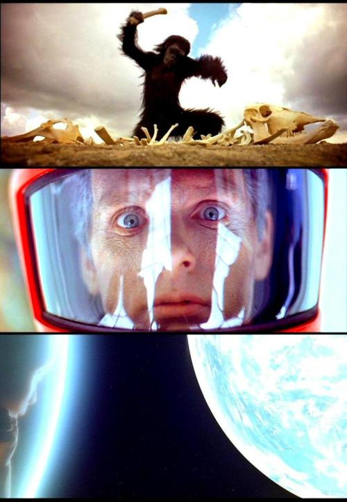 2001: A Space Odyssey (1968, dir. Stanley Kubrick) Interviewer: Why does 2001 seem so affirmative and religious  a film?  Stanley Kubrick: The God concept is at the heart of this film. It's unavoidable that it would be, once you believe that the universe is  seething with advanced forms of intelligent life. Just think about it for  a moment. There are a hundred billion stars in the galaxy and a hundred  billion galaxies in the visible universe. Each star is a sun, like our  own, probably with planets around them. The evolution of life, it is  widely believed, comes as an inevitable consequence of a certain amount of  time on a planet in a stable orbit which is not too hot or too cold. First  comes chemical evolution — chance rearrangements of basic matter, then  biological evolution. Think of the kind of life that may have evolved on those planets over the millennia, and think, too, what relatively giant technological strides  man has made on earth in the six thousand years of his recorded  civilization — a period that is less than a single grain of sand in the  cosmic hourglass. At a time when man's distant evolutionary ancestors were  just crawling out of the primordial ooze, there must have been  civilizations in the universe sending out their starships to explore the  farthest reaches of the cosmos and conquering all the secrets of nature.  Such cosmic intelligences, growing in knowledge over the aeons, would be as  far removed from man as we are from the ants. They could be in  instantaneous telepathic communication throughout the universe; they might  have achieved total mastery over matter so that they can telekinetically  transport themselves instantly across billions of light years of space; in  their ultimate form they might shed the corporeal shell entirely and exist  as a disembodied immortal consciousness throughout the universe. Once you begin discussing such possibilities, you realize that the religious implications are inevitable, because all the essential attributes  of such extraterrestrial intelligences are the attributes we give to God.  What we're really dealing with here is, in fact, a scientific definition of  God. And if these beings of pure intelligence ever did intervene in the  affairs of man, so far removed would their powers be from our own  understanding. How would a sentient ant view the foot that crushes his  anthill — as the action of another being on a higher evolutionary scale  than itself? Or as the divinely terrible intercession of God? -excerpted from The Film Director as Superstar by Joseph Gelmis