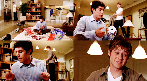 RYAN: What are you wrapping? SETH: Two Seth Cohen starter packs. We got Death Cab, we got Bright Eyes, we got the Shins, we got Kavalier and Clay, and we got Goonies. It's not just for kids, Ryan, it's not. I don't care what they tell you. Summer and Anna are going to love them both equally. RYAN: You're getting Summer and Anna the same thing? SETH: Yes, I am. Sometimes I'm so crafty I surprise myself. RYAN: No good can come of this. You know that, right? The O.C., 1x13 The Best Chrismukkah Ever