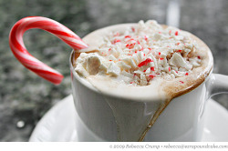 megannjanel:  Candy Manor Peppermint Hot Chocolate INGREDIENTS: Whipped Cream:1 cup (8 ounces) heavy cream, chilled2 tablespoons powdered sugar1/4 teaspoon peppermint extract (recommended: Boyajian)2 tablespoons crushed peppermint candyHot Chocolate:3 ounces unsweetened chocolate, grated1 quart (32 ounces) whole milk1/3 cup (3 ounces) sugar1/3 cup (3 ounces) boiling water1 teaspoon vanilla extract1 teaspoon peppermint extract (recommended: Boyajian)Candy canes, garnish DIRECTIONS:1. To make the whipped cream: Place the cream, powdered sugar and peppermint extract in a chilled mixing bowl, and beat on high speed until soft peaks form. Use a rubber spatula to fold in the crushed candy. Refrigerate the whipped cream.2. To make the hot chocolate: Place the chocolate in a 2 1/2-quart metal mixing bowl. Place the bowl over (but not touching) a pan of simmering water. (The bowl will seem large, but you need the space to mix in the milk.) Stir the chocolate occasionally with a rubber spatula.3. In the meantime, pour the milk into a heavy-bottomed 2-quart saucepan. Whisk in the sugar and cook over medium heat, stirring occasionally, until the milk begins to simmer and bubbles form around the edge. Turn off the heat.4. When the chocolate has melted, reduce the heat so the water under the pan barely simmers. Pour the 1/3 cup of boiling water into the melted chocolate, and whisk or beat with an electric mixer until smooth. Dribble in the hot milk mixture as you whisk. When the ingredients are well incorporated, remove the bowl from the water bath, and stir in the vanilla and peppermint.5. To serve, ladle the hot chocolate into mugs, and top with a generous dollop of the whipped cream. Garnish with a candy cane. (via ezrapoundcake)