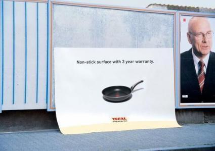 "creativead:  Tefal Pan : Non-Stick Surface  I want to see this ad in real life. It's funny how ads are usually on the periphery of our worlds, and this ad ""broke."" - cthrin"