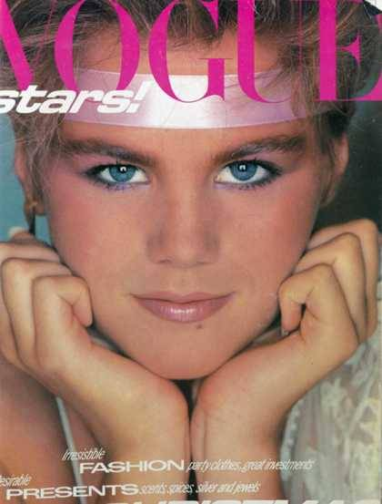 The headband-friendly Eighties revealed on the cover of Vogue. December 1980.