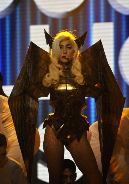 Lady Gaga on X Factor via golighters (THIS. WAS. AWESOME. Wild eyebrows.): fuckyeahladygaga