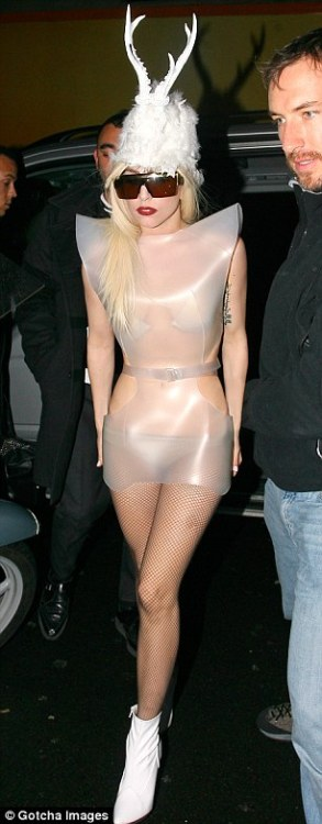 lady gaga wearing bespoke rubber bodice december 2009