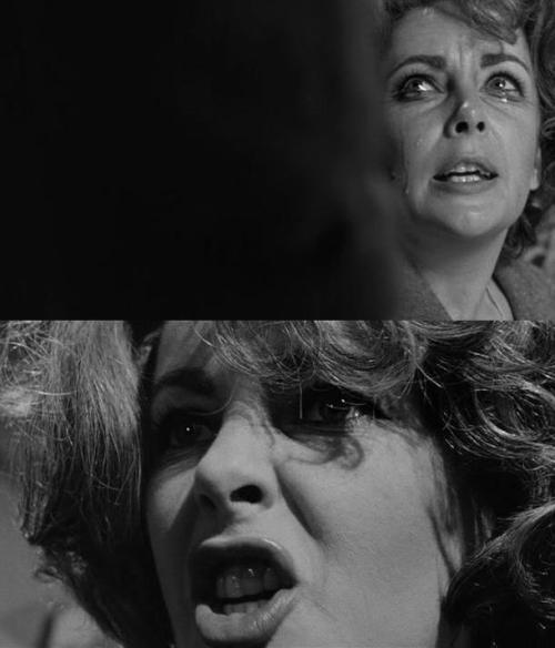 "Elizabeth Taylor in Who's Afraid of Virginia Woolf (1966, dir. Mike Nichols) ""I hope that was an empty bottle, George! You can't afford to waste good liquor. Not on your salary, not on an associate professor's salary!"""