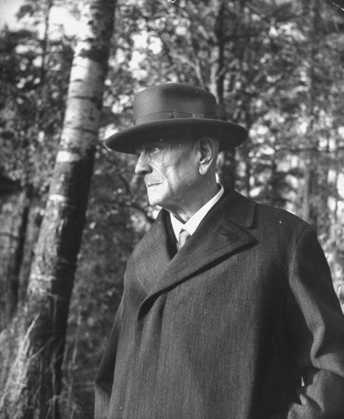 Composer Jean Sibelius (Dec. 8, 1865 - 1957) walking in the woods, Finland, 1944 Photographer: Eliot Elisofon, LIFE