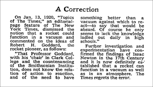 New York Times Correction notice, published July 17th, 1969, the day after the launch of Apollo 11.