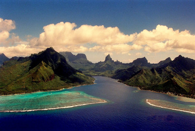 Moorea French Polynesia (via 5348 Franco) Moorea is a high island in French Polynesia, part of the Society Islands, 17 km northwest of Tahiti.