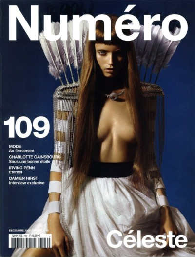Numero December 2009 cover. Fronted by Abbey Lee Kershaw and shot by Miguel Reveriego. This is a stunning cover and as Janelle of models.com aptly wrote, Numero just raised the bar. The styling, the pose, the colors all works together to create a perfect visual. [MODELS]