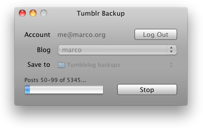 staff:  The Tumblr Backup app is ready for beta testing! Download (Mac OS X, requires 10.5 or higher) Unlike other publishing sites' approach to backups, our goal was to create a useful copy of your blog's content that can be viewed on any computer, burned to a CD, or hosted as an archive of static HTML files. Wherever possible, we use simple file formats. Our backup structure is optimized for Mac OS X's Spotlight for searching and Quick Look for browsing, and we'll try to use the same structure and achieve the same benefits on other platforms. Release notes: Sorry, there's no Windows version yet. The output is minimally styled in a plain theme to ensure complete backups, zero external requirements, and a consistent data structure. Custom theme code is included in the backup as a separate file. To view the backup in a browser, open the index.html file. Photosets are not yet fully downloaded. The following are notbacked up: Private tumblelogs Submissions Notes Feed-imported posts Audio files from reblogged posts  You can launch the app every few days and re-run the backup in the same place, and it effectively performs an incremental media backup: image and audio files are only re-downloaded if they don't already exist in the target folder. Text content and post data are re-downloaded in full every time. If you have private posts, be careful if you make the backup publicly available. Private posts are included in a private folder, and their images or audio files are included in the standard images and audio folders. Are you a programmer? Each post's XML data, as specified by our API, is embedded inside an easily-parsed-out HTML comment in each post's HTML file, in case you want to do anything cool with it.  (via marco) So this seems like it might be handy right now… but the link is broken. Anyone have any tumblr archival solutions to share?