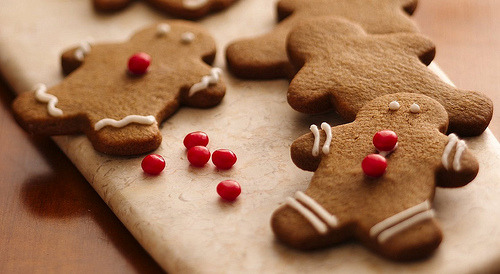 megannjanel:  Easy Gingerbread Friends Recipe (from pillsburyrecipes) INGREDIENTS1 roll (16.5 oz) Pillsbury® refrigerated gingerbread cookies1/2 cup ready-to-spread frosting100 red cinnamon candies or other small red candiesDIRECTIONS1. Heat oven to 350°F. Remove half of cookie dough from wrapper; refrigerate remaining dough until needed.2. Sprinkle about 1/4 cup of flour onto work surface; coat sides of half of dough with flour. With rolling pin, roll out dough to 1/4-inch thickness, adding additional flour as needed to prevent sticking. With floured 2 1/2- to 3-inch gingerbread boy or girl cutter, cut out dough boys or girls. Gently brush excess flour from shapes; place 2 inches apart on ungreased cookie sheet. Repeat with remaining half of dough.3. Bake 7 to 9 minutes or until light golden brown. Cool 1 minute; remove from cookie sheet to cooling racks. Cool completely. Place icing in piping bag, decorate with icing and candies for eyes and buttons, as desired.