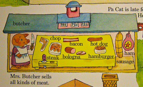 caite:  baconbaconbacon:   Mrs. Butcher sells all kinds of meat… Pork Chops, Bacon, Ham…  This is what happens when her piglets don't behave! LET THIS BE A LESSON TO US ALL via sarablues   I never realized…how wrong this really was…