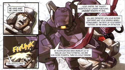 fuckyeahtransformers:  Transformers: War and Peace #1art by Pat Lee  Our foolish leader refuses to see the obvious, that his loyal Shockwave will try to overthrow him. His reluctance will cost him dearly.