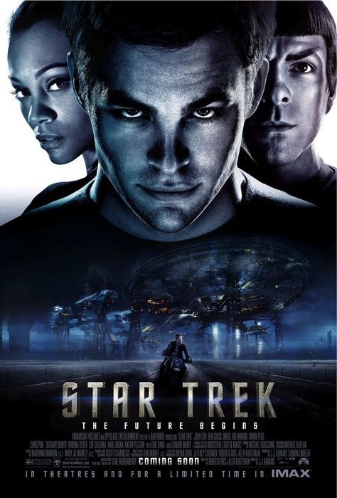 Star Trek, 2009. Starring Chris Pine, Zachary Quinto, Eric Bana, Leonard Nimoy, Karl Urban, Simon Pegg, John Cho, Zoe Saldana, Anton Yelchin, Bruce Greenwood, Winona Ryder. (Director: J.J. Abrams)———————————————————————Plot: Capt. Kirk (Pine) and his trusted team on the Starship USS Enterprise boldly go where no man has gone before in this installment of Gene Roddenberry's sci-fi franchise that follows the early days of the intergalactic adventurers. The crew includes Spock (Quinto), Chekov (Yelchin), Uhura (Saldana), Scotty (Pegg) and Sulu (Cho).