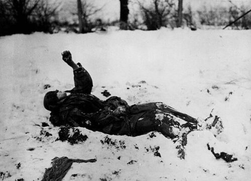 twilightnihil:  Frozen German soldier, near Nefte, Belgium, WWII.