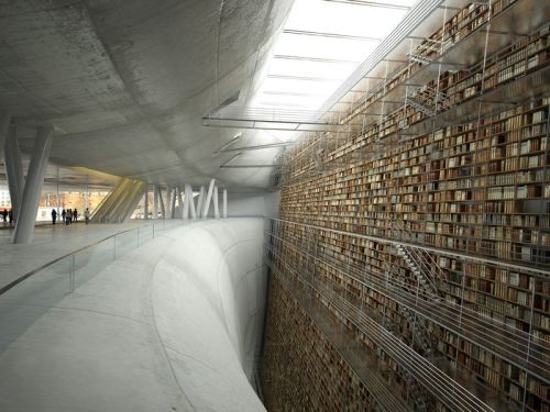 "ninakix:  ""Wall of Knowledge."" This is a visualised concept for a library in Stockholm. It was rendered by a team of students. (via marbury)  Perfect Interior of the Day XXV"