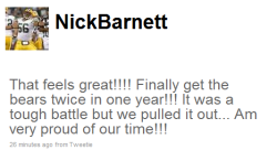 Packers Tweet #1: Linebacker Nick Barnett