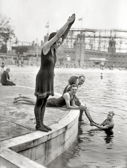 Joan Desborough (ready for a dive), Starlight Park, the Bronx, circa 1921
