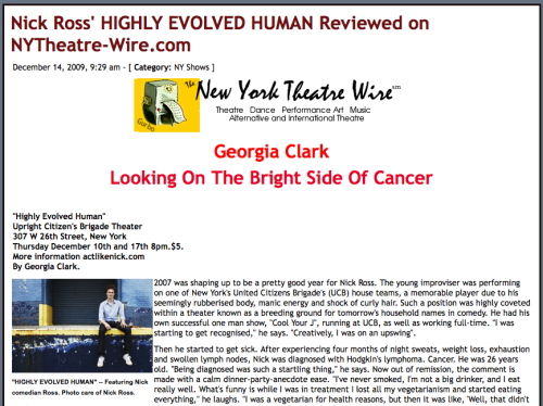 Highly Evolved Human written about in NY Theatre Wire.
