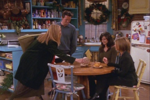 7x10 TOW The Holiday Armadillo Chandler: Pheebs? Phoebe: Huh? Chandler: Skull? Phoebe: Oh, yeah, it's my mom's. Rachel: (freaking out) Oh my god!! Phoebe: No, no, no. It's not! It's not my mom. It belonged to mom. Yeah, no, she used to put it out every Christmas to remind us, that even though it's Christmas, people still die. And, you can put candy in it.