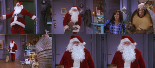 7x10 TOW The Holiday Armadillo Chandler: Ho, ho, ho! Merry Christmas! Ben: Santa! Chandler: Hey! Ross: What are you doing here, Santa? Chandler: Well, I'm here to see my old buddy Ben. What are you doing here, weird…turtle-man? Ross: I'm the Holiday Armadillo, your part-Jewish friend. You sent me here to give Ben some presents. Remember? Chandler: …What?
