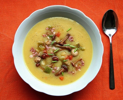Potato Leek Soup with Wild Mushrooms, Bacon, and Root Vegetables photo by a.rud.beth via f-word