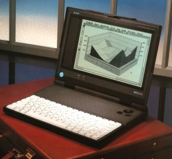 Laptop made by Atari in 1990. Never got sold for real. The design would work still, remarkable when you see it in perspective.