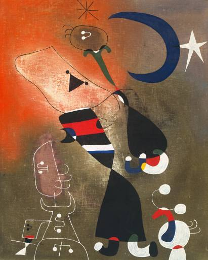 jiyuujin:  Joan Miro,Women and Bird in the Moonlight. oil on canvas, 1949.