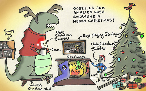 """godzilla and an alien wish everyone a merry christmas!"""