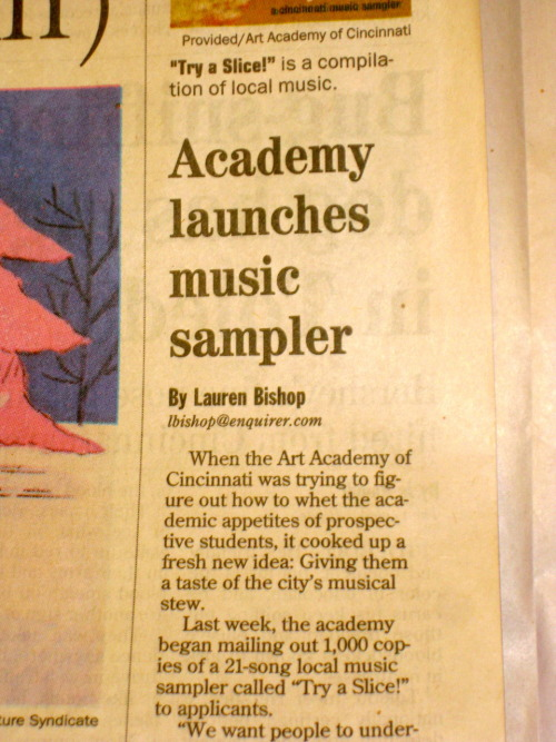 Media Covers Art: Academy launches music sampler