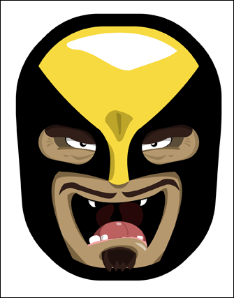 Number two in an ongoing series that I like to call Marvel Luchadors. Basically, I'm taking costumed hero masks or faces (from the Marvel Comics universe) and turning them into luchador masks, or masks worn by Mexican wrestlers that fight in the lucha libre style. I actually got the idea from a sticker on a banana. The sticker was a cool, stylized luchador mask, and being the old school comics nerd that I am, I decided to create my own series of luchador masks from the Marvel heroes that I grew up with. All the masks are vector graphics created in Photoshop CS4.