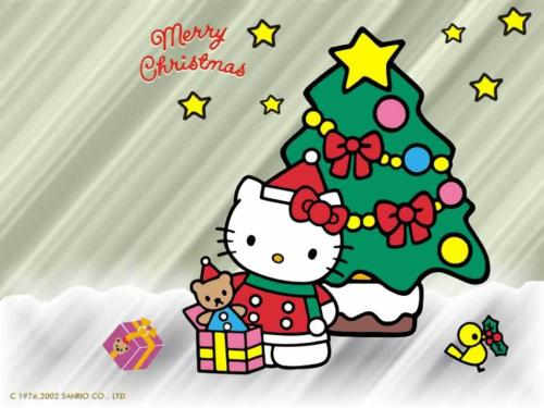 hello kitty christmas wallpaper  submitted by skippingbeats